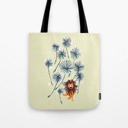 Lion on dandelion Tote Bag