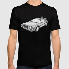 Back to the Future Delorean illustration MEDIUM Black Mens Fitted Tee