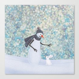 snowman and white rabbit Canvas Print