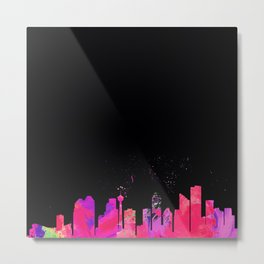 YYC in Colour by Night Metal Print