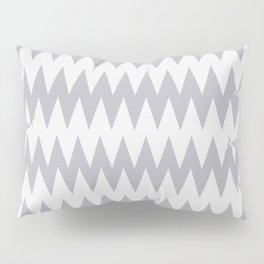 Pantone Lilac Gray and White Zigzag Pointed, Rippled Horizontal Line Pattern Pillow Sham
