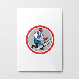 Plumber Pipe Worker Turning on Flow Circle Cartoon Metal Print