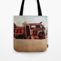 truck Tote Bags featuring Survivor Truck by PamelasDreams