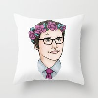wesley bird Throw Pillows featuring Flower Crown James Wesley by HayPaige