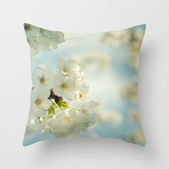 White apple blossoms and a spring blue sky Throw Pillow
