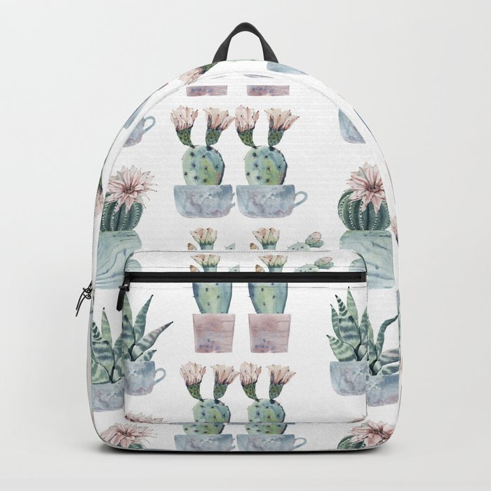 Girly Rose Cactus Pots Backpack