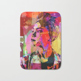 Lady with headscarf in mixed media style Bath Mat