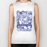 manchester Biker Tanks featuring Manchester by leeann walker illustration