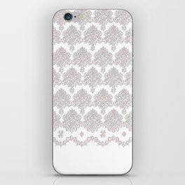 Off-White Damask Chenille with Lace Edge iPhone Skin