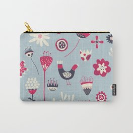 Scandi Birds and Flowers Blue Carry-All Pouch