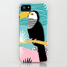 Loopy - wacka designs abstract bird toucan tropical memphis throwback retro neon 1980s style pop art iPhone Case