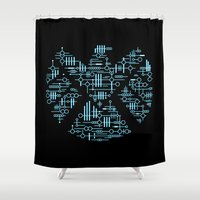 agents of shield Shower Curtains featuring Alien Agents by Doodle Dojo