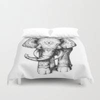 ornate elephant Duvet Covers featuring Ornate elephant by Creadoorm