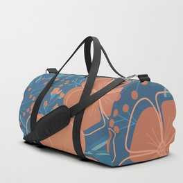 Tropical Flowers and Leaves Botanical in Terracotta Burnt Orange and Turquoise Teal Blue Duffle Bag
