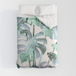 Delicate Monstera Blue And Green #society6 Comforters