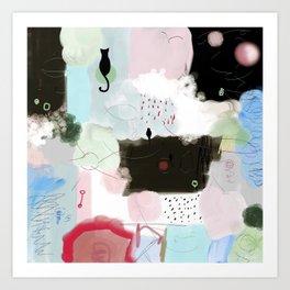 Peinture tons pastels chat oiseau bulles abstrait moderne Art Print