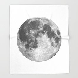 Full Moon phase print black-white monochrome new lunar eclipse poster home bedroom wall decor Throw Blanket