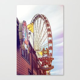 The Crab Pot and Seattle Great Wheel Canvas Print