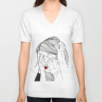 introvert V-neck T-shirts featuring Introvert 2 by Heidi Banford