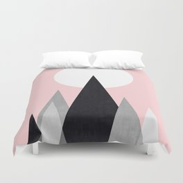 Minimalist mountains and pink Duvet Cover