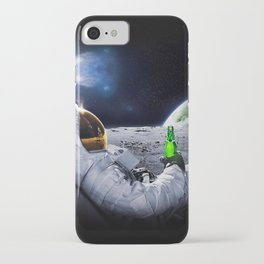 Funny Astronaut with space beer iPhone Case