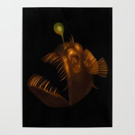 Deep Sea Anglerfish Watercolor Poster