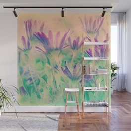 Dreamy Spring Lavender Daisy Flowers Wall Mural