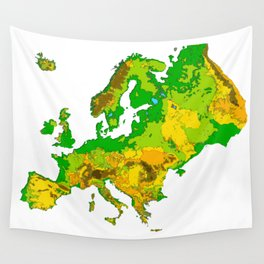 Topographical Relief Map of the Continent of Europe Wall Tapestry