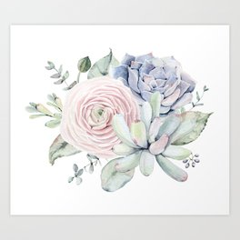Succulent Blooms Art Print