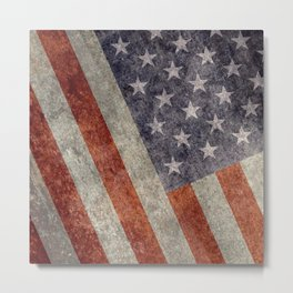 USA flag - Retro vintage Banner Metal Print