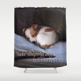 The Truth About Sleeping Dogs Shower Curtain
