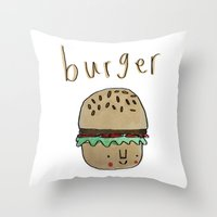 burger Throw Pillows featuring Burger by Tuesday Alissia