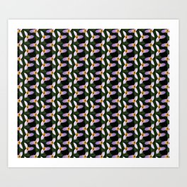 white trillium, dark background, tinted pattern Art Print