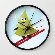 Happy Pine Tree on Ski Wall Clock