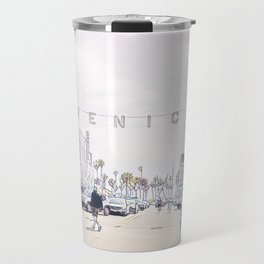 Venice Beach Mosaic Pen and Ink - Faded Rose Travel Mug