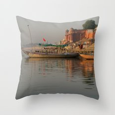 Reflections in the Ganges Throw Pillow
