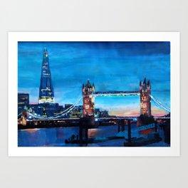 London Tower Bridge and The Shard at Dusk Art Print