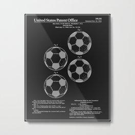Soccer Ball Patent - Black Metal Print