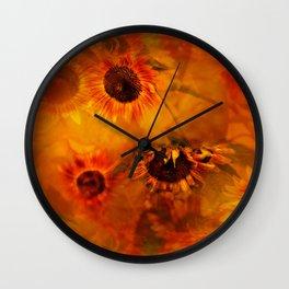 Autumn Playful Sunflowers Wall Clock