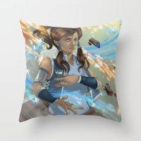 korra Throw Pillows featuring Korra by Shoko Lam