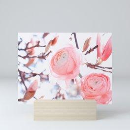 noble floral pattern of magnolia and ranunculus flowers Mini Art Print
