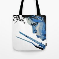 edward scissorhands Tote Bags featuring Edward Scissorhands by OnaVonVerdoux