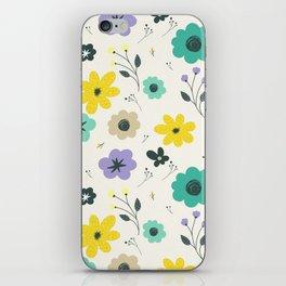 Modern ivory lime green teal violet floral illustration iPhone Skin
