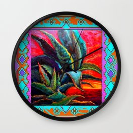 SOUTHWESTERN BLUE AGAVES DESERT LANDSCAPE  TURQUOISE PATTERN Wall Clock