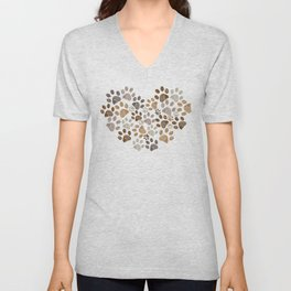 Made of heart doodle brown paw print Unisex V-Neck
