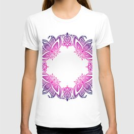 indian pattern with lotus T-shirt
