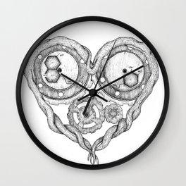 Chemistry of love: dopamine and serotonin formula (black and white version) Wall Clock