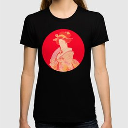 japanese art style lady red T-shirt