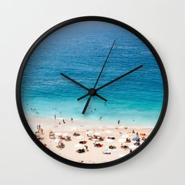 Beach, Coastal, Ocean, Sea, Water, Nature, Modern, Minimal, Interior, Wall art Wall Clock