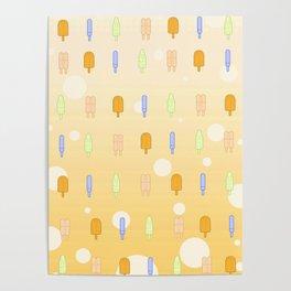 Kawaii Popsicles Yellow Poster